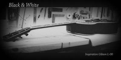 Guitare blues folk black & white